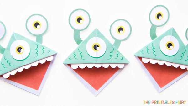 Green Monster Origami Bookmark