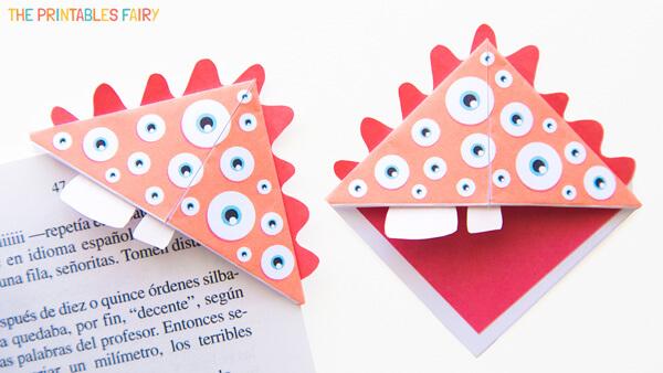 Origami Orange Monster Bookmark
