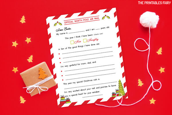 Letter to Santa with prompts