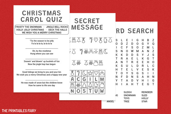 Christmas carol quiz, Christmas secret message, and Christmas word search
