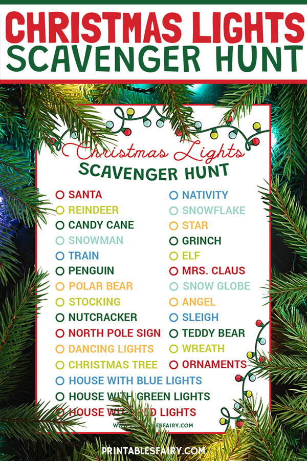 Free Printable Christmas Lights Scavenger Hunt