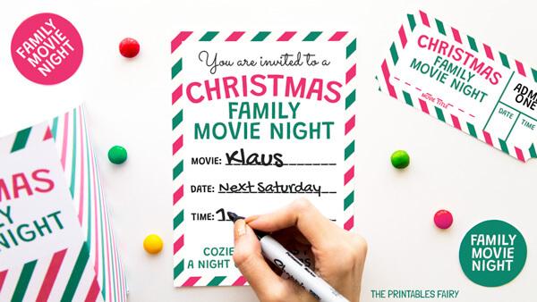 Christmas Movie Night Invitation
