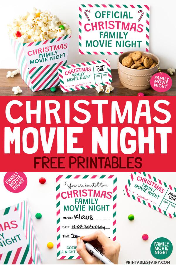 Christmas Movie Night Free Printables