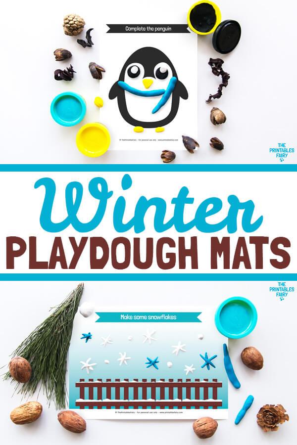 Free Winter Play Dough Mats