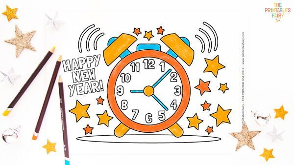 New Year's Countdown Coloring Page