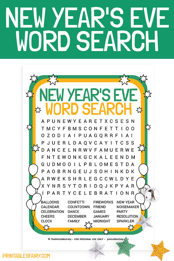 Free Printable New Year's Word Search