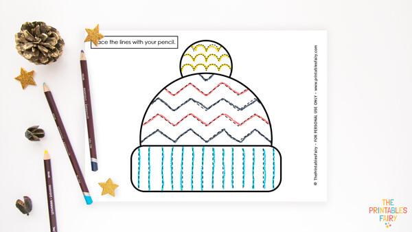 Winter Hat Tracing Worksheet