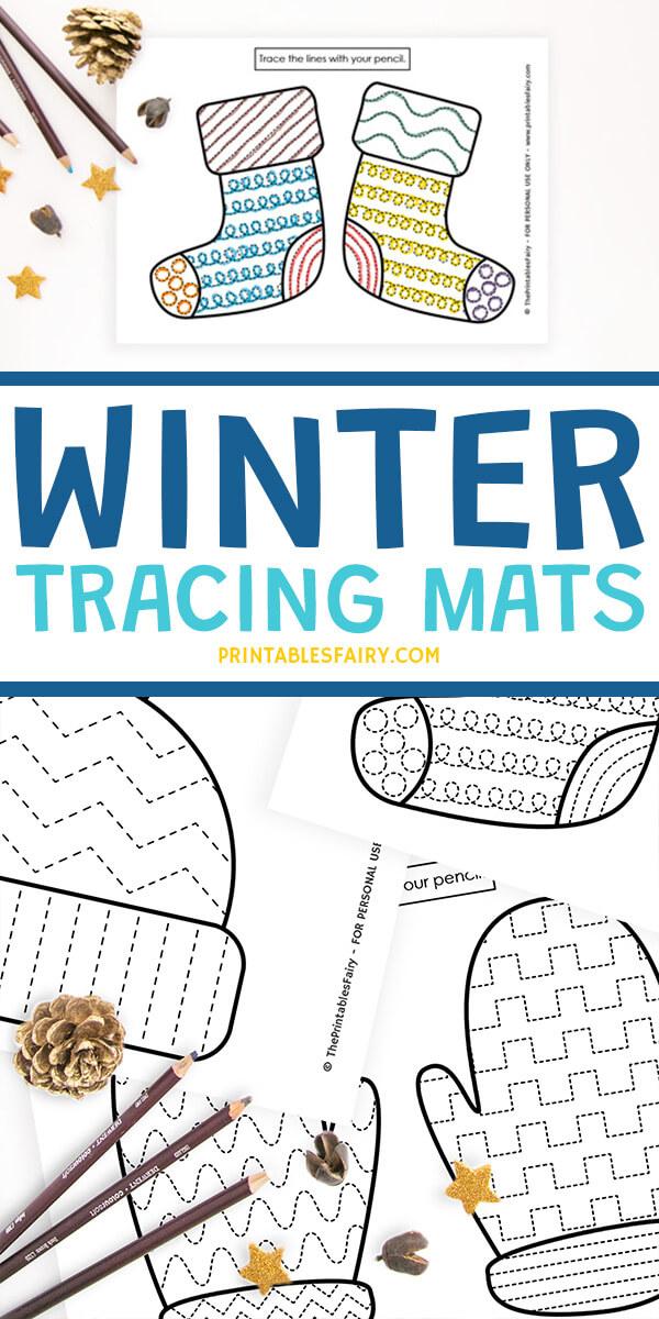 Printable Winter Tracing Mats