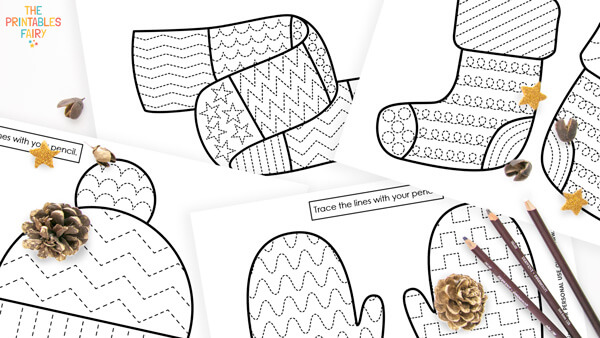 Winter Tracing Worksheets for Kids
