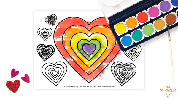 Lots of hearts coloring sheet