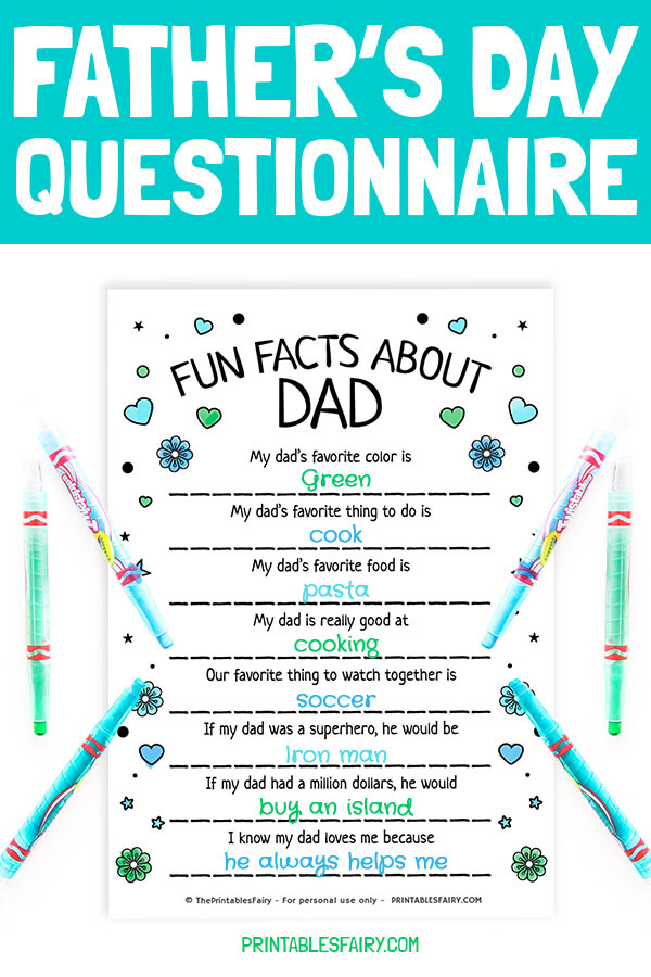 Father's Day Questionnaire for Dad