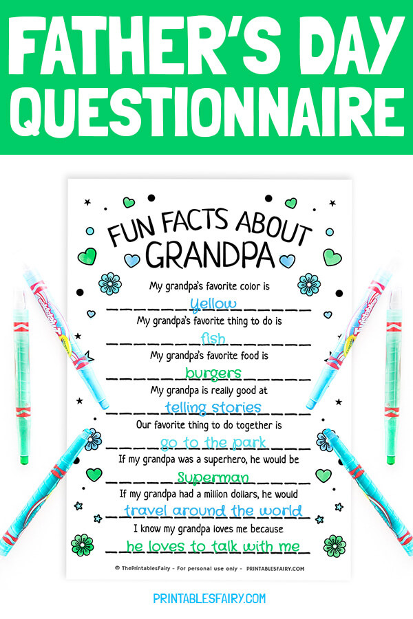 Father's Day Questionnaire for Grandpa