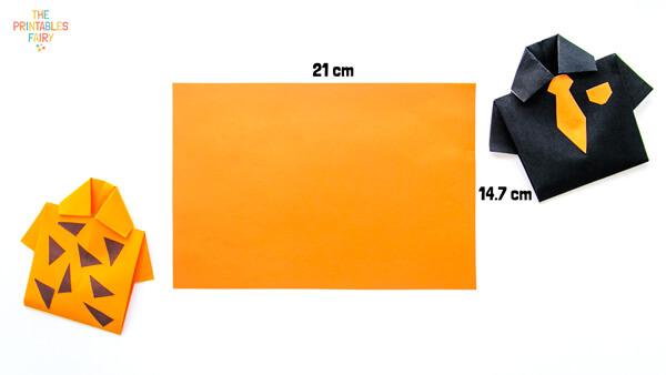Orange rectangular piece of paper