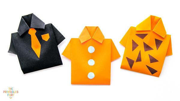 2 Orange and 1 black origami shirts