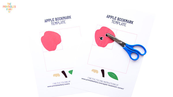 Print and cut the apple bookmark templates