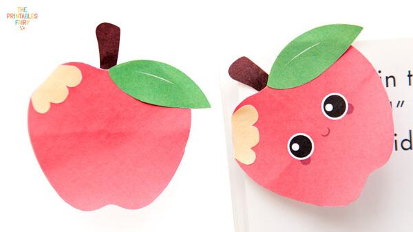 Normal apple bookmark and kawaii apple bookmark