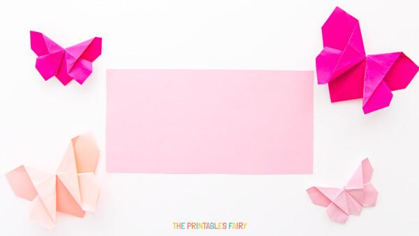 Rectangular piece of pink paper