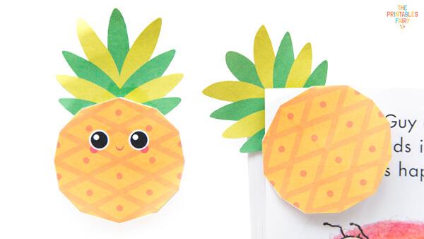 Kawaii Pineapple Bookmark and Normal Pineapple Bookmark