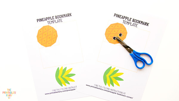 Print and cut the pineapple bookmark template