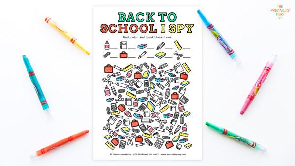 Free Printable Back to School I Spy