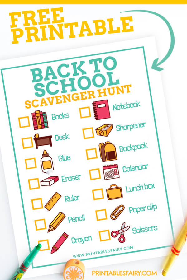 Free Printable Back to School Scavenger Hunt