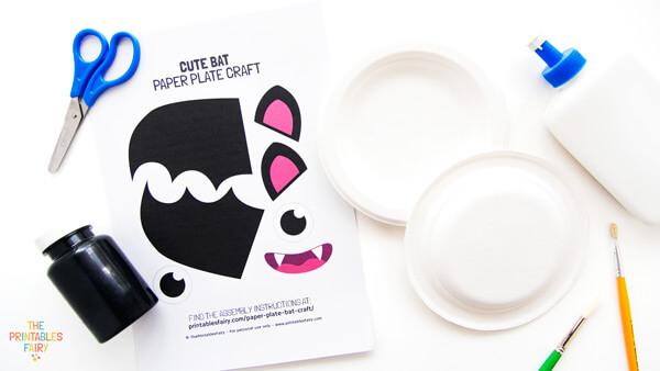 Paper Plate Bat Craft Materials