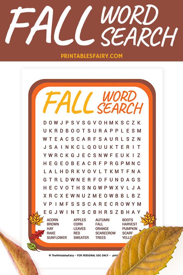 Fall Word Search Printable