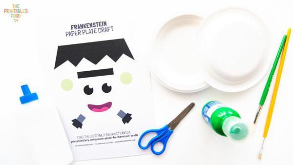 Paper Plate Frankenstein Craft Materials