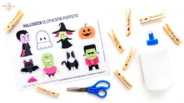 Materials to make the Halloween clothespin puppets