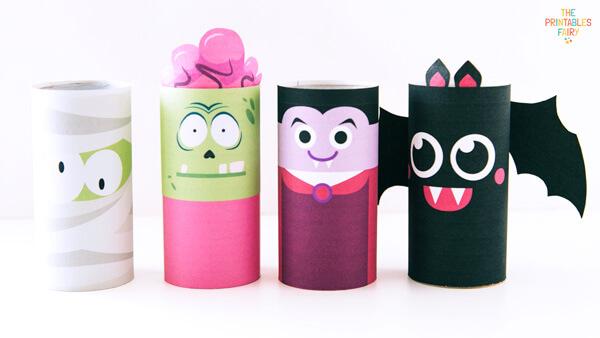 Mummy, zombie, vampire and bat Toilet Paper Roll