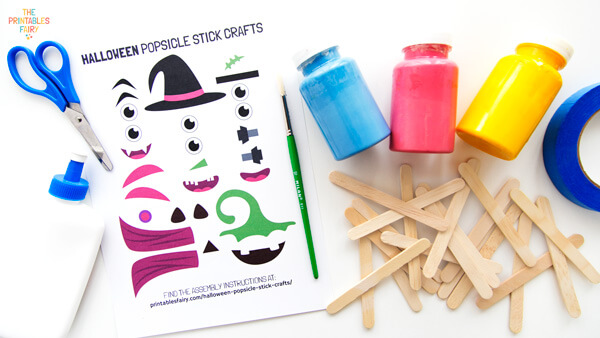 Materials to make Halloween Popsicle Stick Crafts