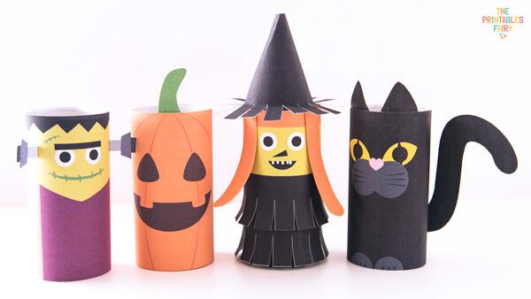 Frankenstein, pumpkin, witch and cat Toilet Paper Rolls