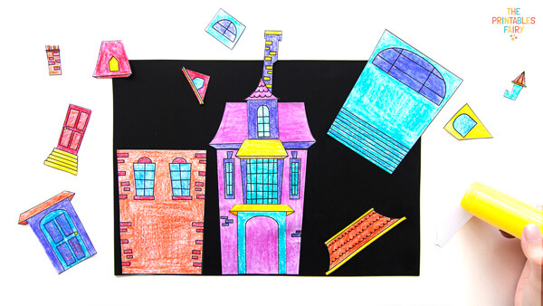 Glue your haunted houses on a card